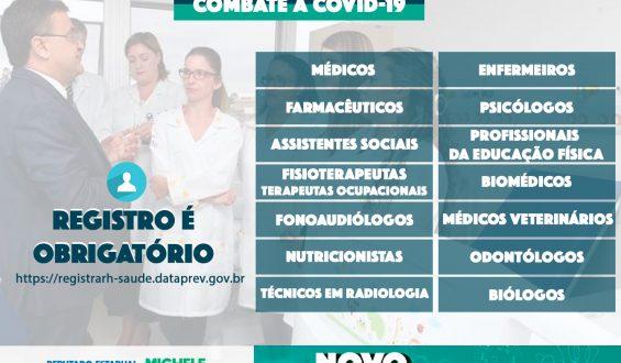 Coronavírus: Profissionais de Saúde terão que preencher cadastro obrigatório